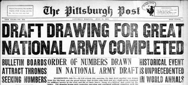 First WWI Draft newspaper headline