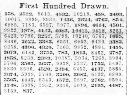 First WWI Draft newspaper first numbers drawn