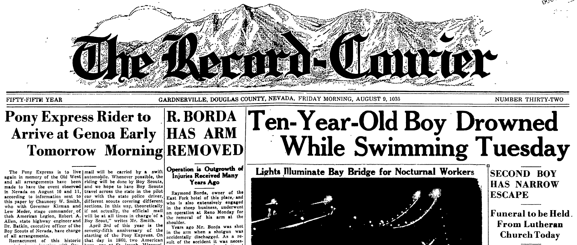 Record Courier Roy Thran Drowning headline