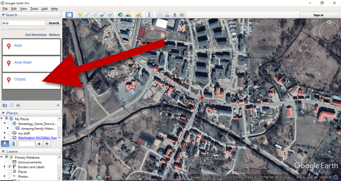 Finding a map location in Google Earth