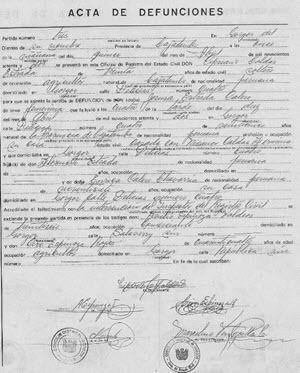 Example of Civil Registration records from Peru