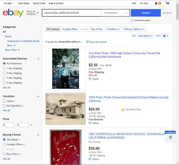 ebay search for school records