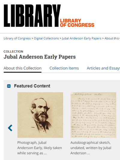 Jubal Anderson Early Papers at the Library of Congress