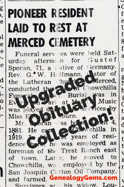 updated obituary collections for genealogy