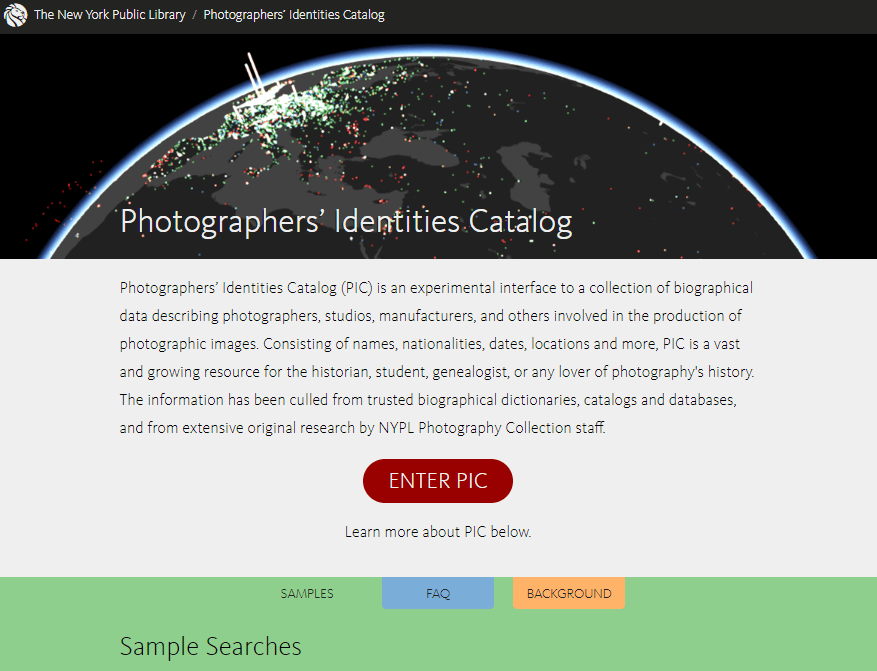 NYPL Photographer's Identifies Catalog PIC website