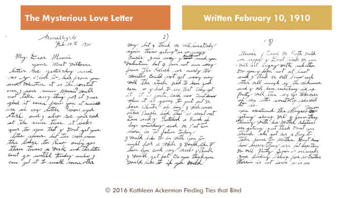 The first three pages of the love letter