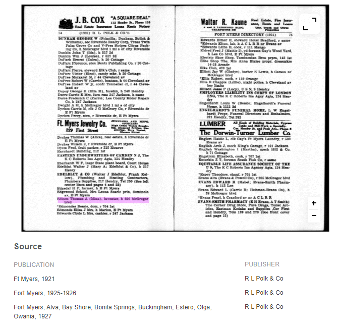 Example: Thome Edison in US City Directories at MyHeritage