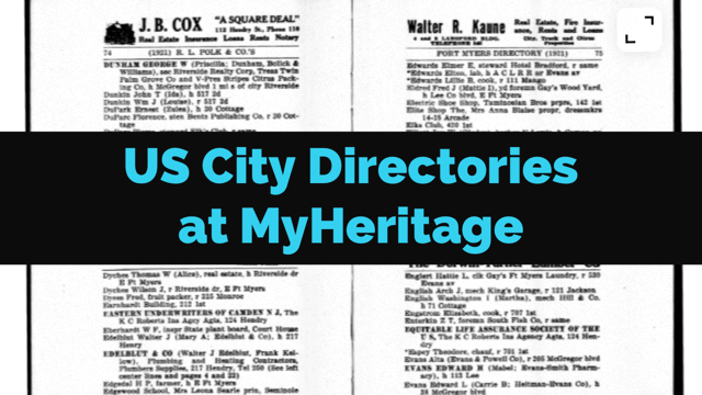 Collection of Historical U.S. City Directories Released by MyHeritage