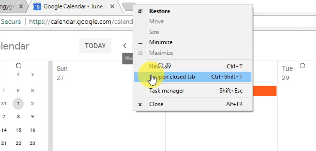 how to reopen a browser tab