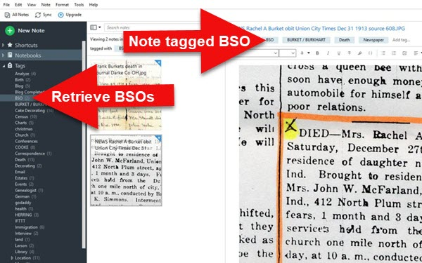 Notes tagged in Evernote