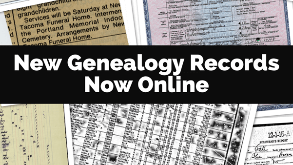 New Genealogy Records Available Online April 15 – May 15, 2020