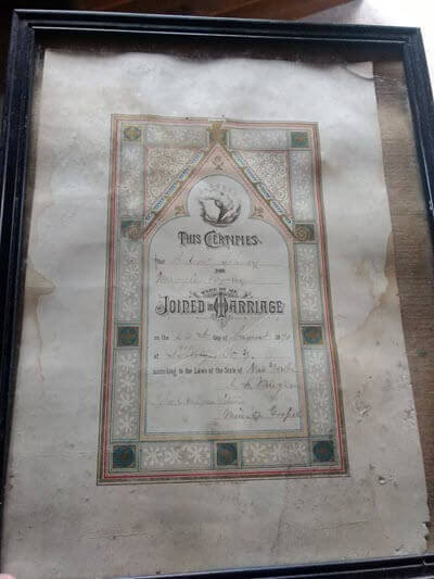 Reunited marriage certificate