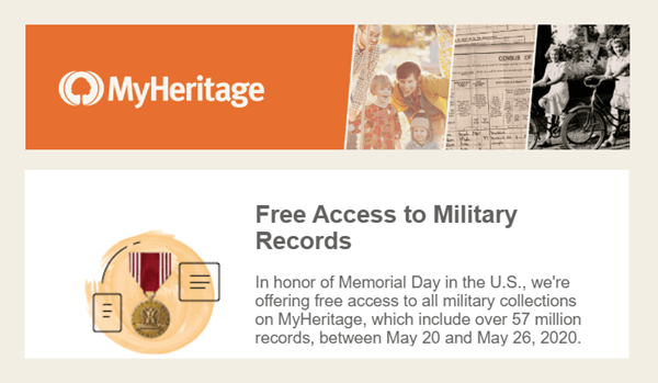 Free Access to Military Records and Yearbooks at MyHeritage for a Limited Time