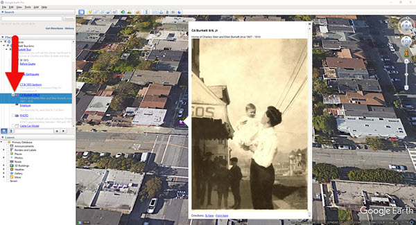 Old family photo displayed in Google Earth placemark