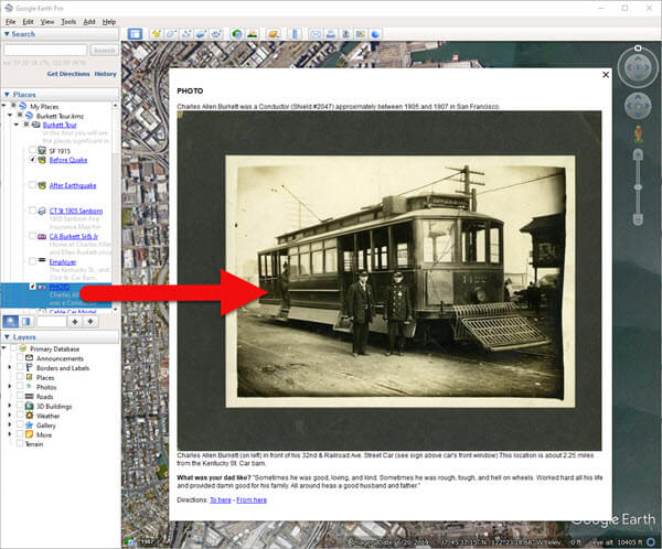Placemark in the Places panel displaying a photo