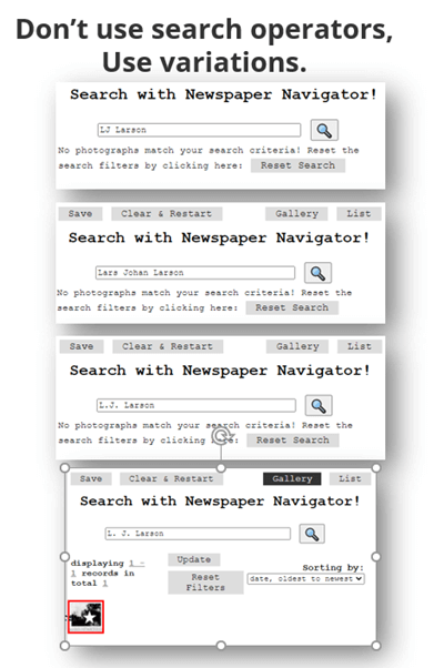Variations in newspaper searches