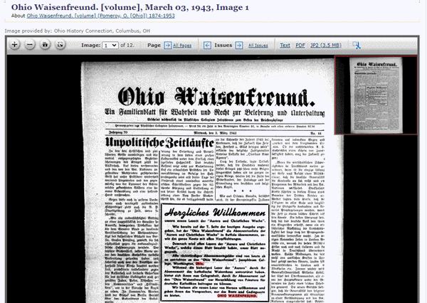 Ohio Waisenfreund newspaper at Chronicling America