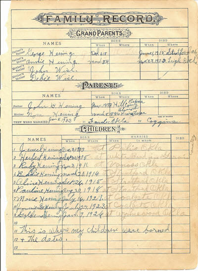 Using family bibles for genealogy and family history