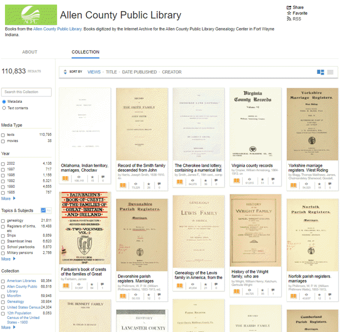free records at the internet archive from the allen county public library genealogy center