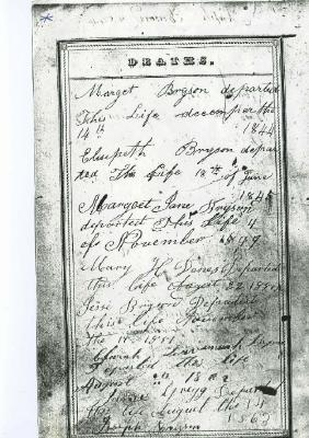 family Bible record for genealogy