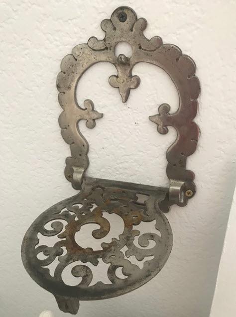 Vintage cast iron stove metal shelf accessory