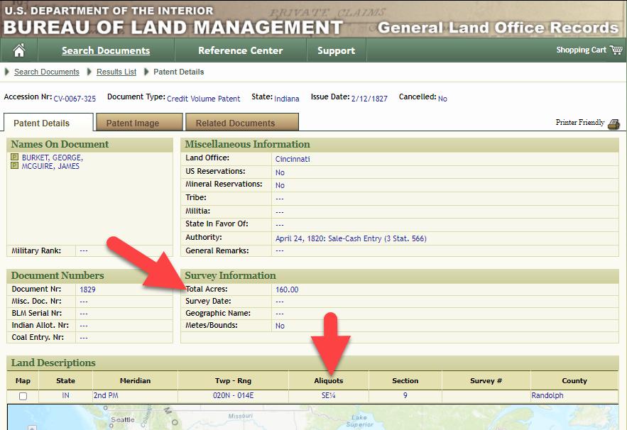 Aliquots in Legal Land Description