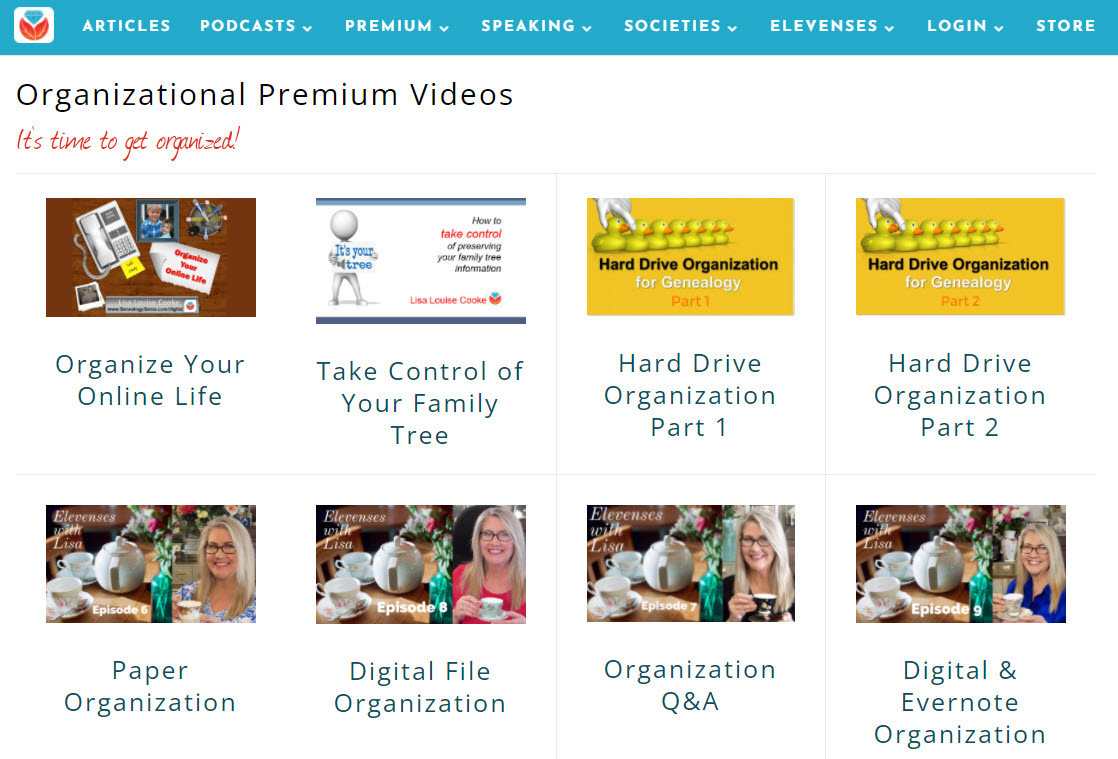 organizing genealogy video classes by Lisa Louise Cooke