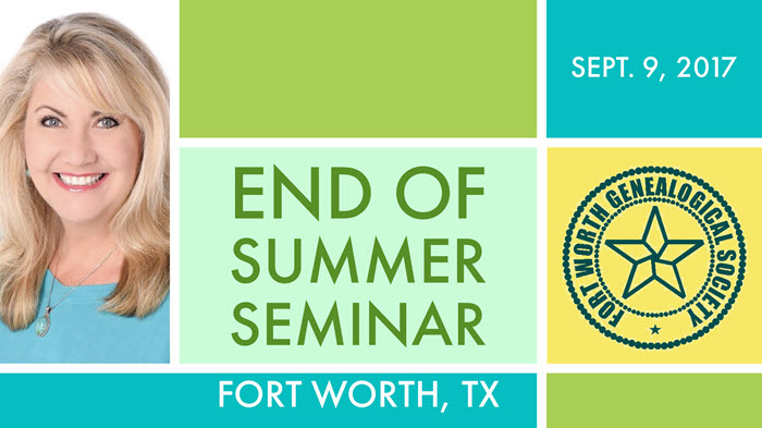 Fort Worth Genealogical Society End of Summer Seminar this Weekend with Lisa Louise Cooke