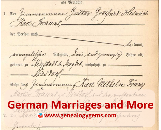 German Marriages and More in New and Updated Genealogy Records Online