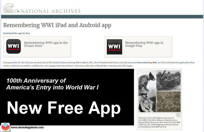 Free WWI App from the National Archives